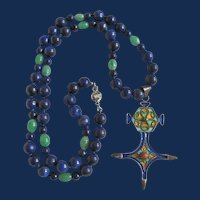 Little Creations Enamelled Cross Pendant with Lapis and Glass bead Necklace