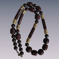 Vintage Signed Cadoro Bakelite Plums & Brown Beauty Barrel Beads Necklace