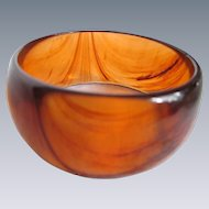 Vintage Lucite Tea Swirl Wide Bangle