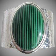 Vintage Faux Malachite Cabochon Hammered Chrome Cuff Bracelet