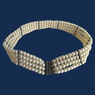 Vintage Faux Seed Simulated Pearl 4 Strand Bracelet