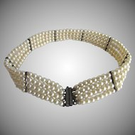 Vintage Faux Seed Simulated Pearl 4 Strand Bracelet