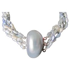 Vintage Enhanced Blue/Gray Freshwater Cultured Pearls & Mabe Cultured Pearl Clasp Torsade