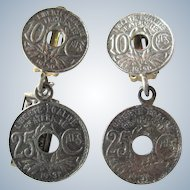 Vintage St Lavelle British Pewter Coin Clip Earrings