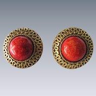 Vintage Signed Napier Faux Coral Cabochon Pierced Earrings