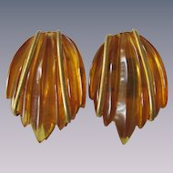 Vintage Bakelite Prystal Amber Colored Carved Dress Clips