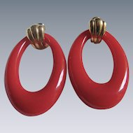 Vintage Red Lucite Doorknocker GP Hoop pierced earrings