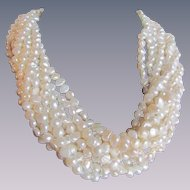 Vintage GP Signed Kenneth Lane 10 Strand Freshwater Cultured Pearl Torsade Necklace