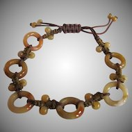 Vintage Nephrite Jade Circle of Life Silk Cord Bracelet