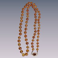 Vintage 18Kt GP Natural Reformed Baltic Amber Hand Knotted 6-9mm 26 Inch Necklace