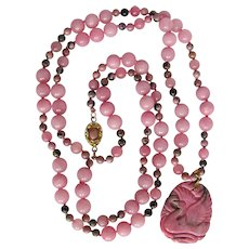 Little Creations  18kt GP Rhodonite Carved Pendant on Rose Quartz & Rhodonite Bead Necklace