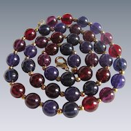 Vintage Jewel tone Lucite Purple, Pink & Red 17 Inch Bead GP Necklace