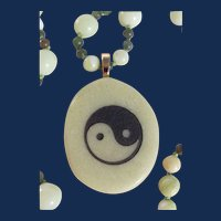 Little Creations Jade Nephrite Engraved Ying/Yang Pendant Necklace