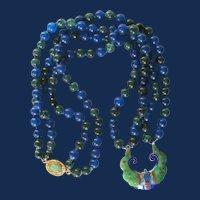 Upcycled 18kt GP Enamel Cloisonne Pendant with Blue & Green Jadeite Necklace