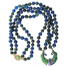 Upcycled 18kt GP Enamel Cloisonne Pendant with Blue & Green Jadeite Necklace