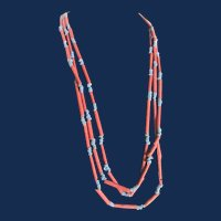 Vintage Faience Terracotta Red and Sky Blue Bead Eternity Boho Chic Style 70 Inch Necklace