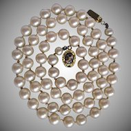 Little Creations 18Kt GP Leopard Spot Jasper Cabochon in Clasp & 8mm Simulated Faux Pearl Necklace