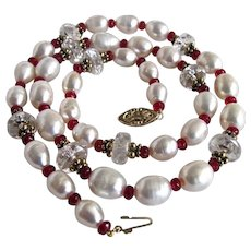 Little Creations 14kt Cultured Freshwater Pearl Necklace Rock Crystal Red Pressed Glass Facetted Spacer Necklace
