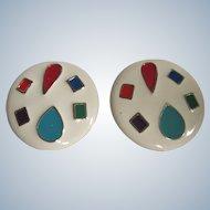 Vintage Pop Art Style Enamelled Multi Colored Huge Scale Pierced GP Earrings