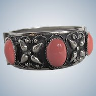 Vintage Victorian Revival Style Scrolled Japanned  Coral Glass Cabochon SP Bracelet