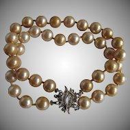 Vintage 8mm Faux Golden Simulated Pearl Double strand Paste SP Clasp Bracelet