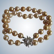 Vintage 8mm Faux Golden Simulated Pearl Double strand Paste SP Clasp Bracelet