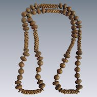 Vintage Unsigned Wood & Woven Raffia Bead 36 Inch Necklace