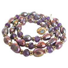 Little Creations 18kt GP Freshwater Cultured Pearls Peacock Color Treated Amethyst Labradorite Necklace