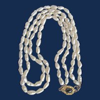Little Creations 18kt GP Freshwater Rice Cultured Pearl Double or Single Strand Blue Sapphire Cabochon Necklace
