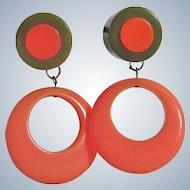 Vintage Bakelite Inlaid Coral and Olive Cabochon & Bakelite Coral Hoop Drop Clip Earrings