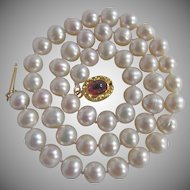 Little Creations 18kt GP July Birthstone Ruby Glass Cabochon with 8mm Cultured Freshwater Pearl Necklace