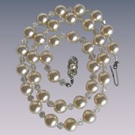 Vintage Faux Simulated Pearl & Crystal Bead Necklace SP Clasp has Cultured Pearl & Rhinestones