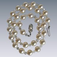 Vintage Faux Simulated Pearl & Crystal Bead Necklace / SP* Clasp has Cultured Pearl & Rhinestones
