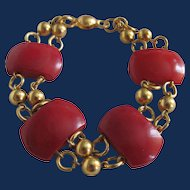 Vintage Red Galalith Links GP Bracelet