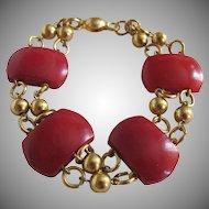 Vintage Red Galalith Links GP Bracelet