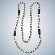 Vintage Jasper and Quartz Bead Eternity 36 Inch Necklace