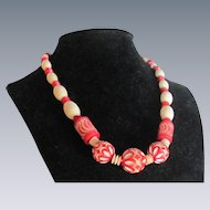 Art Deco Carved Galalith Graduated Most Desirable Red Color and Cream Necklace