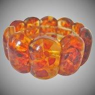 Vintage Reformed Heat Treated Natural Amber Elastic Stretch Link Bracelet