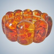 Vintage Reformed Heat Treated Natural Amber Elastic Stretch Link Bracelet