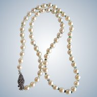 Little Creations Sterling Silver Very Fine AA  Akoya Cultured Pearls and Seawater Tourmaline Necklace