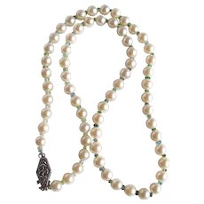 Vintage Sterling Silver Very Fine AA  Akoya Cultured Pearls and Seawater Tourmaline Necklace