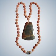 Little Creations 18kt GP Labradorite Cabochon with Agate Pendant and Coral Colored Agate beads Necklace