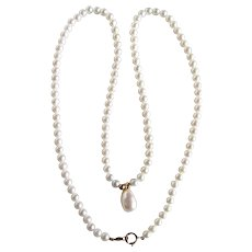 Vintage 14kt Akoya Cultured Pearl  A Plus with Cultured Pearl Drop Pendant Necklace