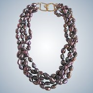 Little Creations Freshwater Peacock Color Treated Baroque Cultured Pearls Torsade GP Necklace