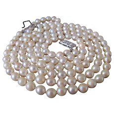 Vintage 14kt Akoya A Quality Cultured Pearl 2 Strand Necklace