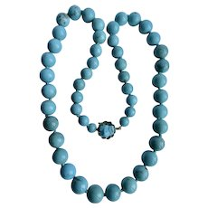 Vintage 14k High Quality Stabilized Turquoise Graduated Necklace
