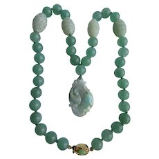 Little Creations 18kt GP Jadeite Lavender Pendant And Jadeite Beads with 4 Glass Accent Beads Necklace