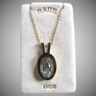 Art Deco MODERNIST Andreas Daub Simulated Aquamarine Paste Crystal Facetted Pendant