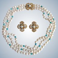 Little Creations GP Cultured Freshwater Pearls and Turquoise 3 Strand Necklace and Matching Clip Earrings