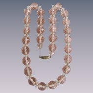 Vintage Rose Quartz Facetted Beads Strung on Chain Necklace